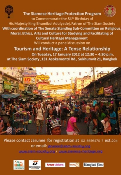 The Siam Society Presents  A Panel Discussion on Tourism and Heritage: A Tense Relationship0