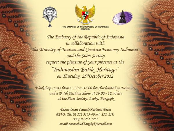 The Ministry of Tourism & Creative Economy Indonesia & The Siam Society - Work Shop& Batik Fashion Show0